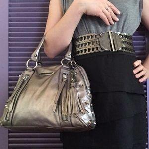 Betsey Johnson Leather Studded Metallic Bowler Bag